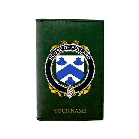 (Laser Personalized Text) Pollard Family Crest Minimalist Wallet