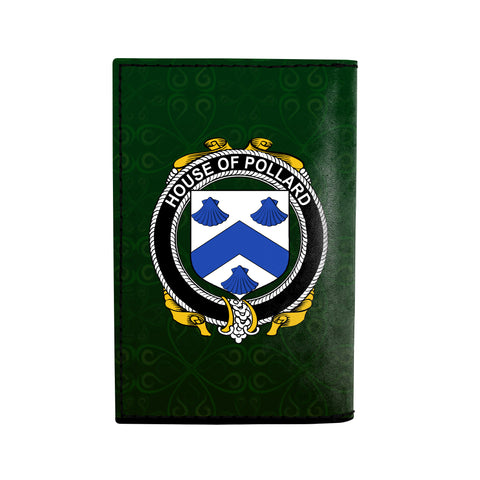 (Laser Personalized Text) Pollard Family Crest Minimalist Wallet K6