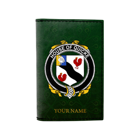 (Laser Personalized Text) Quicke Family Crest Minimalist Wallet