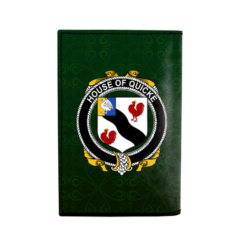 (Laser Personalized Text) Quicke Family Crest Minimalist Wallet K6
