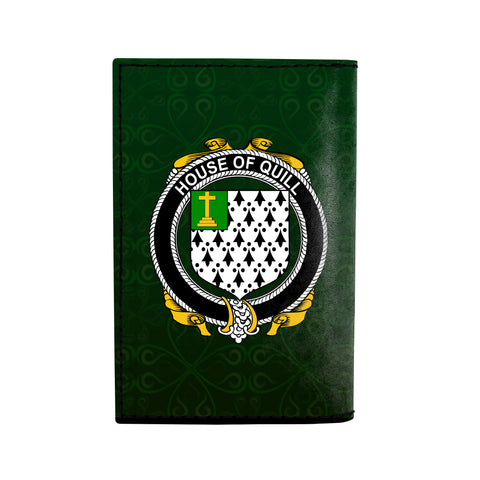 (Laser Personalized Text) Quill Family Crest Minimalist Wallet K6