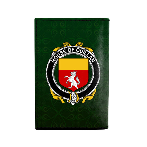 (Laser Personalized Text) Quillan or McQuillan Family Crest Minimalist Wallet K6