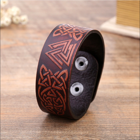 Image of Celtic Knot Leather Bracelet