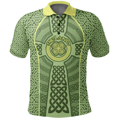 Ireland Celtic Cross Polo Shirt, Celtic Shamrock Golf Shirts K5