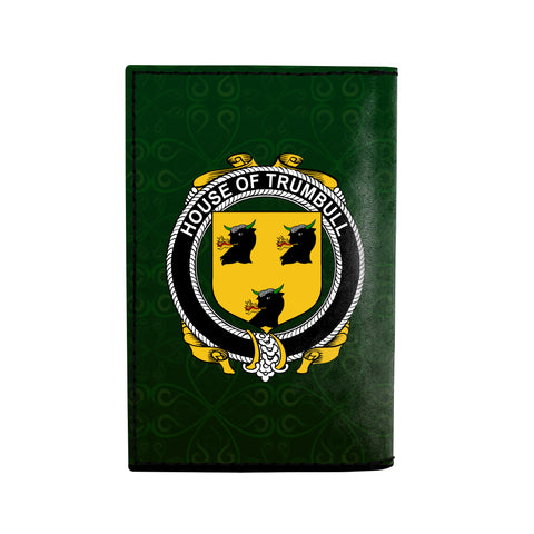 (Laser Personalized Text) Trumbull or Turnbull Family Crest Minimalist Wallet K6