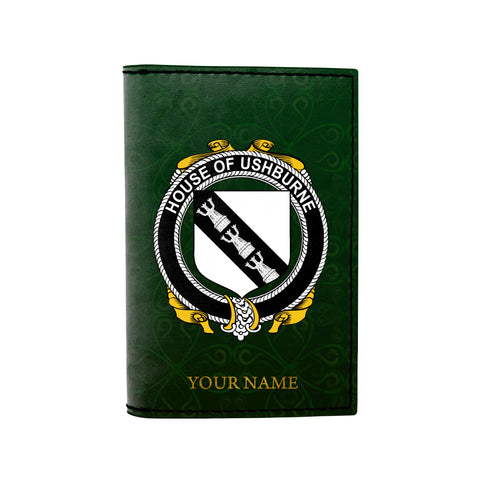 (Laser Personalized Text) Ushburne Family Crest Minimalist Wallet
