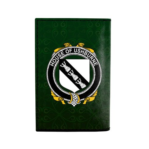 (Laser Personalized Text) Ushburne Family Crest Minimalist Wallet K6