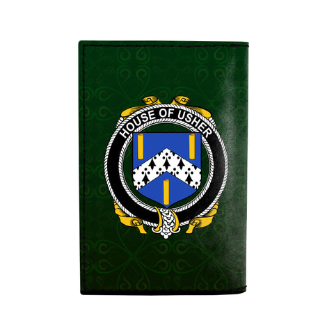 (Laser Personalized Text) Usher Family Crest Minimalist Wallet K6