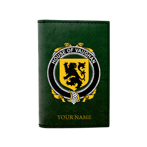 (Laser Personalized Text) Vaughan Family Crest Minimalist Wallet