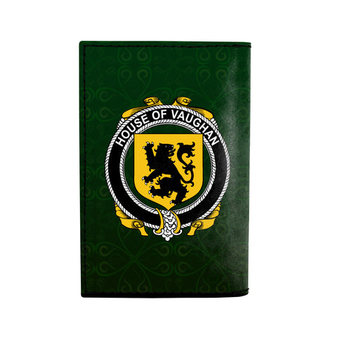 (Laser Personalized Text) Vaughan Family Crest Minimalist Wallet K6