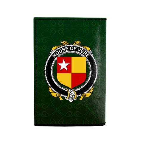 (Laser Personalized Text) Vere Family Crest Minimalist Wallet K6