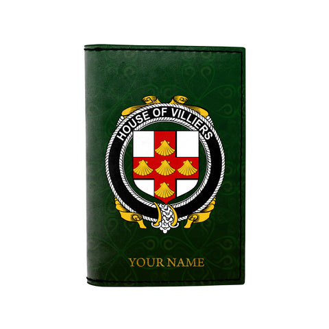 (Laser Personalized Text) Villiers Family Crest Minimalist Wallet