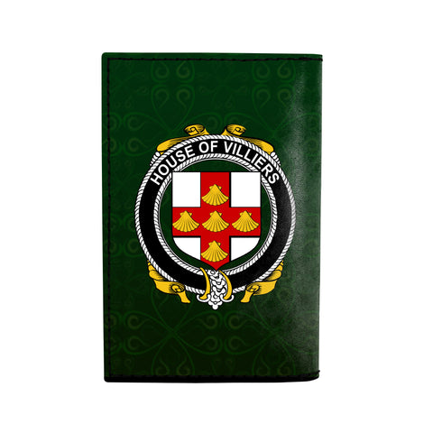 (Laser Personalized Text) Villiers Family Crest Minimalist Wallet K6
