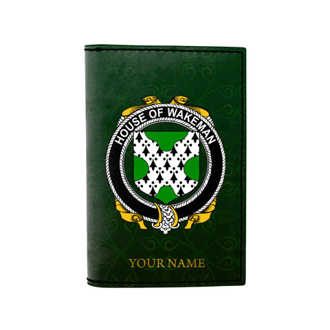 (Laser Personalized Text) Wakeman Family Crest Minimalist Wallet