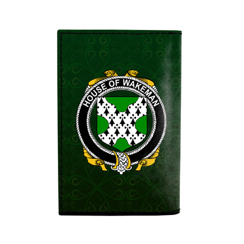 (Laser Personalized Text) Wakeman Family Crest Minimalist Wallet K6