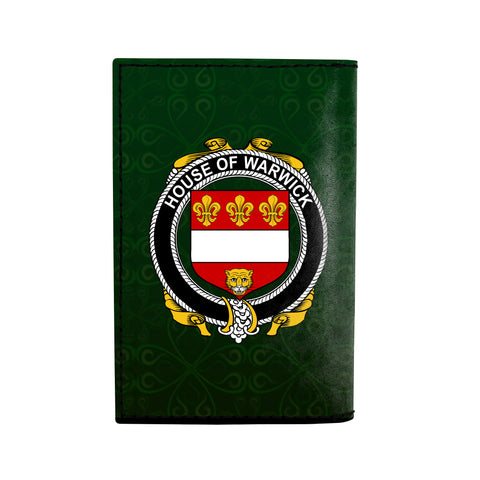 (Laser Personalized Text) Warwick Family Crest Minimalist Wallet K6