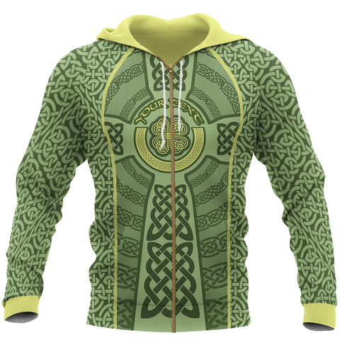 Ireland Celtic Cross Zip Hoodie, Celtic Shamrock Full Zip Hoodie - Customized K5