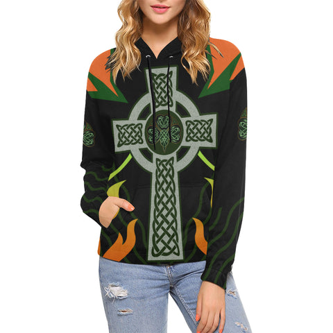 Irish Celtic Cross Shamrock Hoodie - Black Color - For Woman