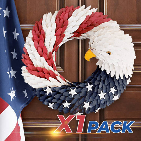 Image of Patriotic American Bald Eagle Wreath, Handcraft American Wreath