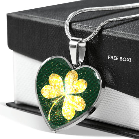 Image of Shining Golden Shamrock™ Women Necklace - Irish Jewelry Silver