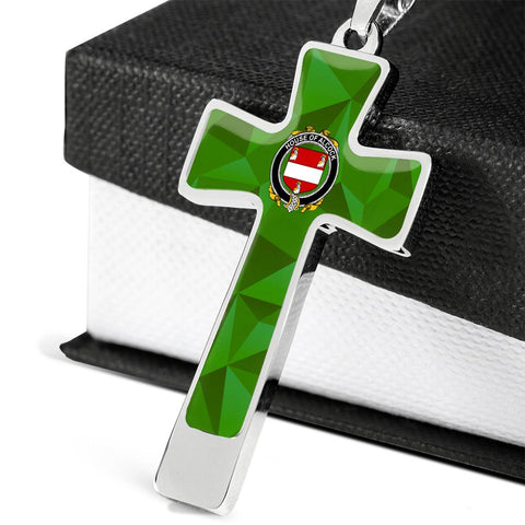 Irish Necklace, Alcock Family Crest Cross Necklace