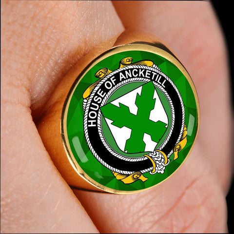 Irish Ring, Ancketill Family Crest Signet Ring