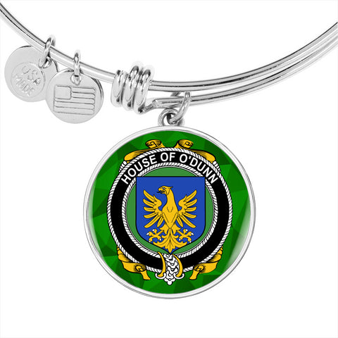 Irish Bangle, Dunn or O'Dunn Family Crest Luxury Heart Shape Bangle