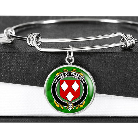 Irish Bangle, Freeman Family Crest Luxury Heart Shape Bangle