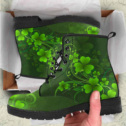 Irish Shamrock Boots, St. Patrick's Day Women Leather Boots