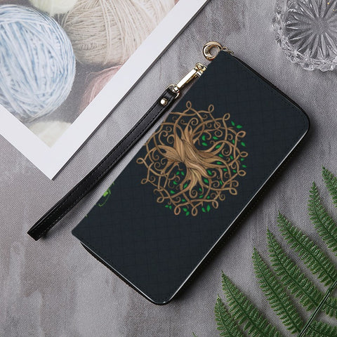 Image of 1stireland Celtic Tree Luxurious Zipper Wallet