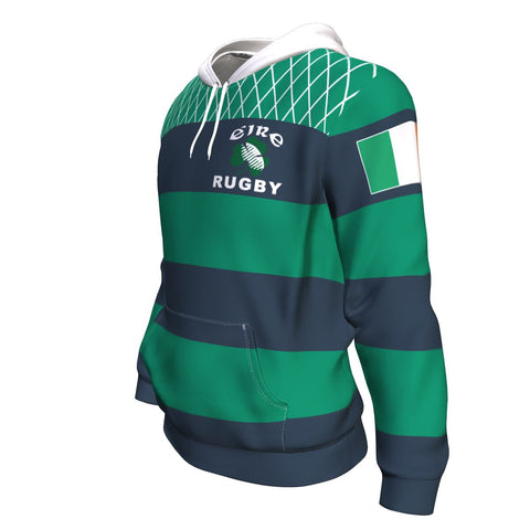 Rugby Hoodie - Croker Green and Navy Traditional - Green - Front and Sleeves - For Men and Women