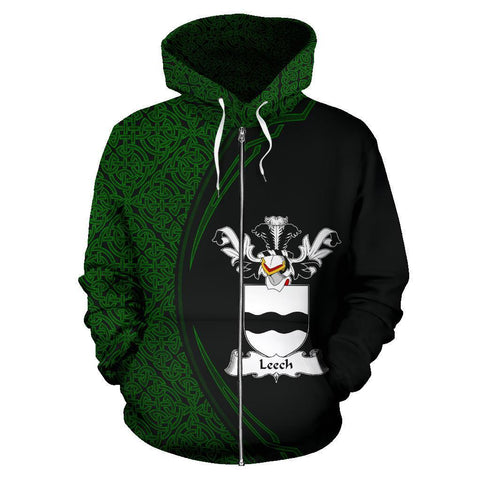 Image of Leech Family Crest Zip Hoodie Irish Circle Style