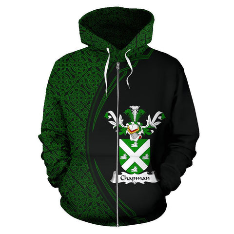 Image of Chapman Family Crest Zip Hoodie Irish Circle Style