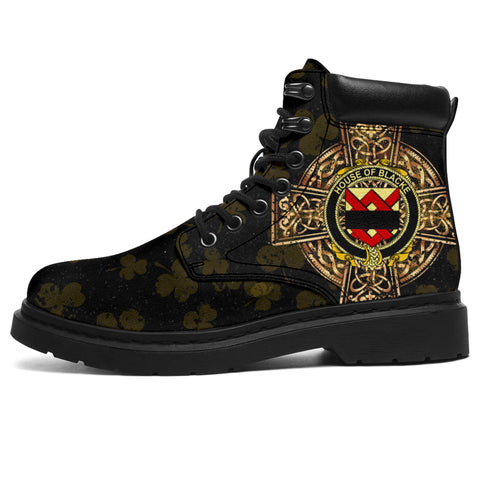 Image of Blacke Family Crest Shamrock Gold Cross 6-inch Irish All Season Boots | 1st Ireland