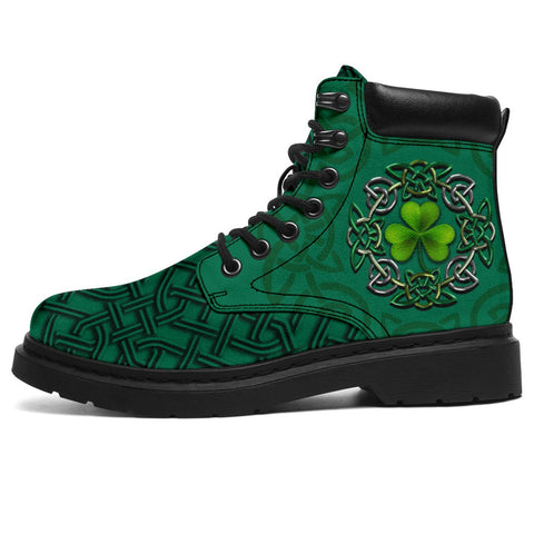 Irish St Patrick's Day Boots, Ireland Celtic Clover All Season Boots Green | 1stireland