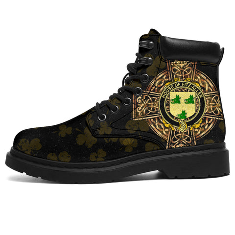 Fitz-Allen Family Crest Shamrock Gold Cross 6-inch Irish All Season Boots | 1st Ireland