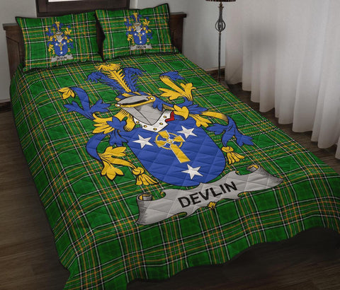 Devlin or O'Devlin Ireland Quilt Bed Set Irish National Tartan | Over 1400 Crests | Home Set | Bedding Set