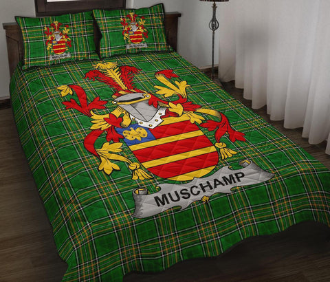 Image of Muschamp Ireland Quilt Bed Set Irish National Tartan | Over 1400 Crests | Home Set | Bedding Set