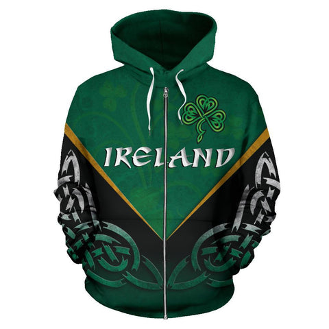 Irish Celtic Knot Zip Up Hoodie Shamrock | Love Ireland | Clothing