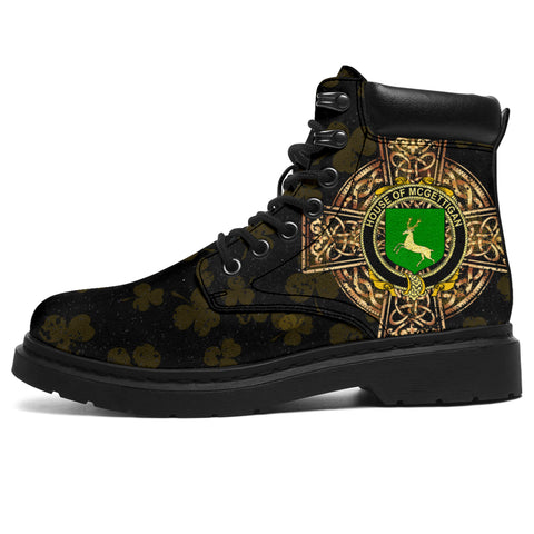 McGettigan or Gethin Family Crest Shamrock Gold Cross 6-inch Irish All Season Boots | 1st Ireland