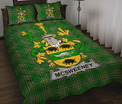 McSweeney Ireland Quilt Bed Set Irish National Tartan | Over 1400 Crests | Home Set | Bedding Set