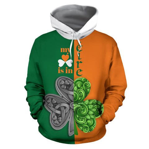 My Heart Is In Ireland Hoodie - Green And Orange Color - Front