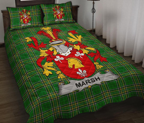 Image of Marsh Ireland Quilt Bed Set Irish National Tartan | Over 1400 Crests | Home Set | Bedding Set