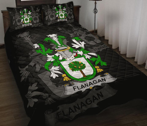 Irish Quilt Bed Set, Flanagan or O'Flanagan Family Crest Premium Quilt And Pillow Cover A7