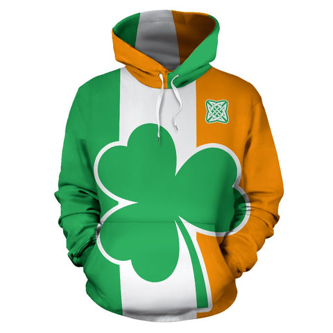Image of Ireland Flag Shamrock All Over Print Hoodie