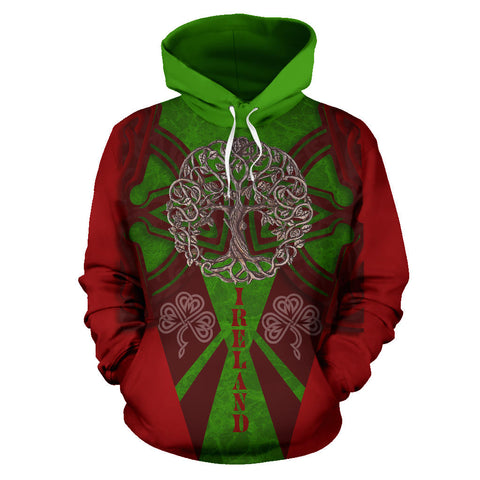 Irish Royal Celtic Tree Hoodie - Red Color - Front