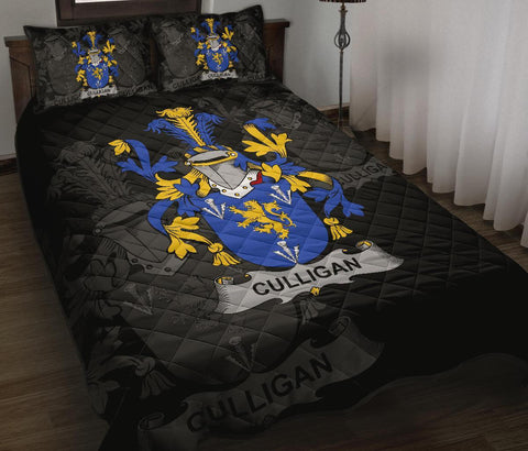 Irish Quilt Bed Set, Culligan or McColgan Family Crest Premium Quilt And Pillow Cover A7