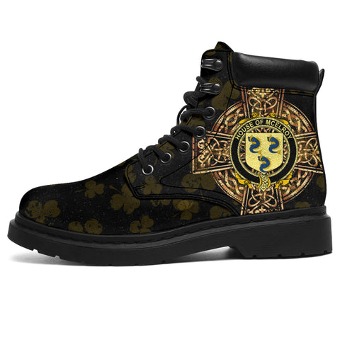 Image of McElroy or Gilroy Family Crest Shamrock Gold Cross 6-inch Irish All Season Boots | 1st Ireland