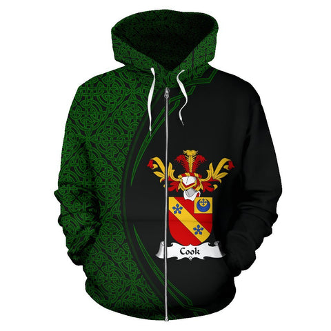 Image of Cook Family Crest Zip Hoodie Irish Circle Style