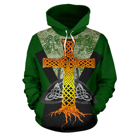 Irish Celtic Cross With Knot Symbol Hoodie - Green Color - Front